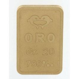 Lingotto in oro 750/00 18 kt da 20 grammi