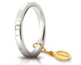 Fede Nuziale Unoaerre Cerchi di Luce 2,5 mm Oro Bianco con diamante Gr. da 3,70 a 5,10 Referenza: 25 AFC 2/100