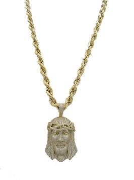 Collana Con Volto Di Cristo In Oro Giallo Con Pietre
