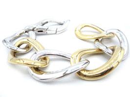 bracciale catena grande donna in oro giallo e bianco 18 kt codice : IS983GB