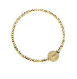 Bracciale donna oro Giallo 18kt rigido con sfera satinata