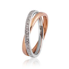 Fede Unoaerre Per Sempre Oro Bianco e Rosa con Diamanti