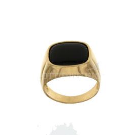 Anello da uomo  in oro giallo con pietra nera codice: 803321715352