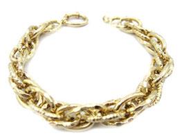 bracciale donna catena ritorto con maglie ovali lucide e godronate in oro giallo 18 kt