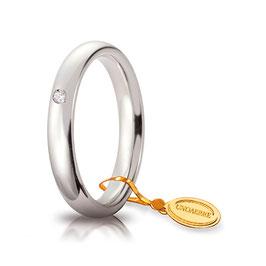 Fede Unoaerre Comoda Oro Bianco con Diamante mm 3,5 Referenza: 35 AFC 1/001