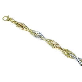 Bracciale donna in oro 18 kt con maglie lucide e godronate ritorte tre ori codice: BR976BGR