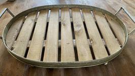 Ovales Holztablett auf vier Metallfüßen