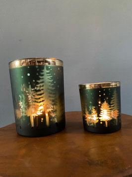 2er Set Windlicht Waldlandschaft grün gold