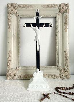 Antiker Jesus am Kreuz Porzellan Frankreich 1900