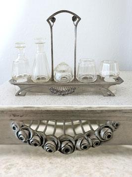 Antike Jugendstil Menage Zinn mit Rosendekor & Gläsern für Essig Öl Gewürze