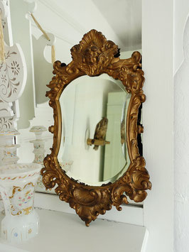 Antiker Facett Spiegel mit Bronzeguss-Goldrahmen aus Frankreich