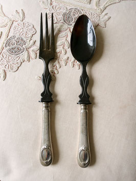 Antikes Salatbesteck 800 Silber & schwarzes Horn Shabby Boheme