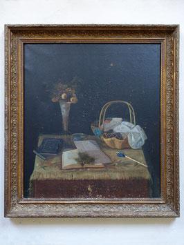 Antikes Ölgemälde Handarbeits Stillleben Frankreich um 1860 im Stuckrahmen