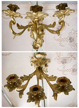Antiker floraler Wandleuchter Rokoko 3-armig Frankreich