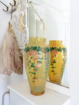 Antike Jugendstil Opalglas Vase Emaillemalerei 28,5cm N. 1