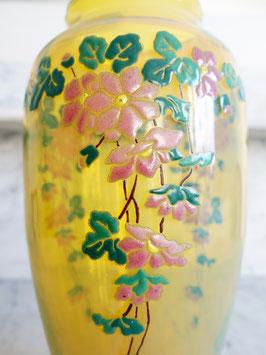 Antike Opalglas Vase mit Emaillemalerei Jugendstil 28cm N. 2