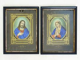 Antike Lithografie JESUS CHRISTUS / MARIA gerahmt h. Glas 1860 E.G.May & Wirsing Frankfurt
