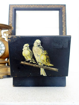 Antike Schatulle Holz & Bein handbemalt mit Vögeln