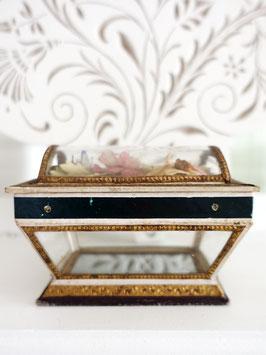 Antikes Kästchen Glas & Papier Shabby Frankreich