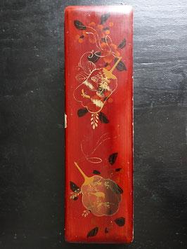 Antike Lack Schatulle Kästchen Chinoiserie rot