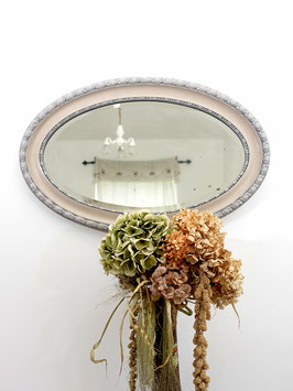Antiker Kristall-Spiegel mit Shabby Holzrahmen oval