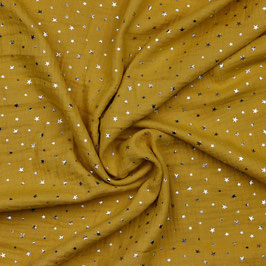 Musselin Stoff  - gelb goldene Sterne