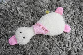 Kuschelente rosa mit weißen Punkten
