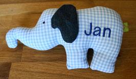 Rasseltier Elefant mit Namen blau