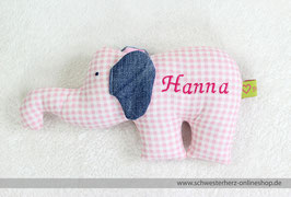 Rasseltier Elefant mit Namen (Vichikaro rosa)