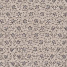 Misto lino shabby chic - tondo con fiore grigio su base lino