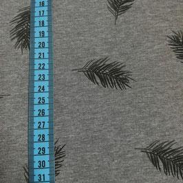 Jersey di cotone a stampa foglie - grigio