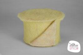 Fascia lana cardata doubleface - giallo/iridescente
