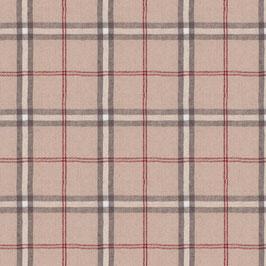 Misto lino shabby chic - scozzese grigio e rosso su base lino