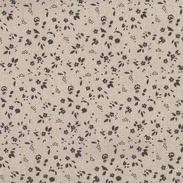 Misto lino shabby chic - lino, con fiorellini grigi stampati