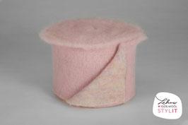 Fascia lana cardata doubleface - rosa/iridescente