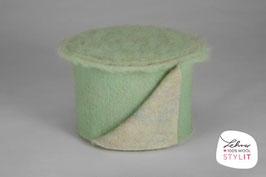Fascia lana cardata doubleface - verde menta/iridescente