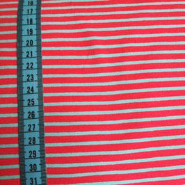 Jersey di cotone - Righe fuxia e turchesi