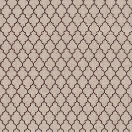 Misto lino shabby chic -motivo geometrico marrone su base lino