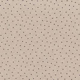 Misto lino shabby chic - lino con puntino nero stampato