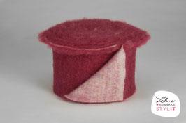 Fascia lana cardata doubleface - fucsia scuro/iridescente