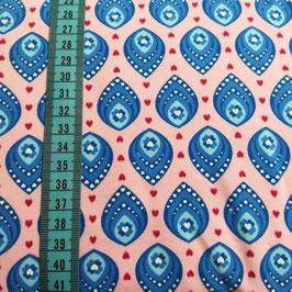 Jersey di cotone - Foglie azzurre base rosa