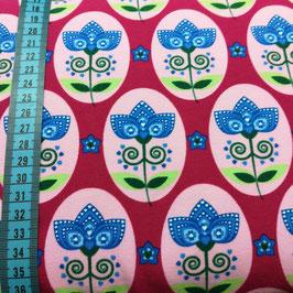 Jersey di cotone - Oblò con fiori fondo fuxia