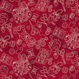 Piccole cose - Oggettini cucito panna su fondo rosso