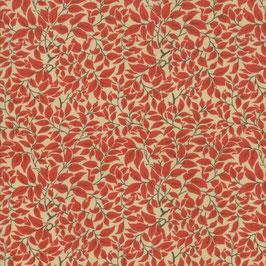 Voysey - Foglie rosse fondo panna