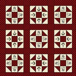 Home sewn - motivo patchwork fondo rosso