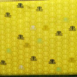 Modern Foglie - fiori fondo giallo