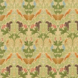 Scoiattoli, farfalla e uccelli fondo verde