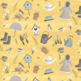 Primavera - Disegni vari su fondo giallo
