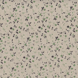Misto lino shabby chic - lino con fiorellini verdi stampati