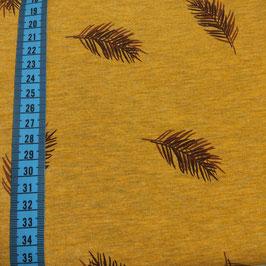 Jersey di cotone a stampa foglie - senape